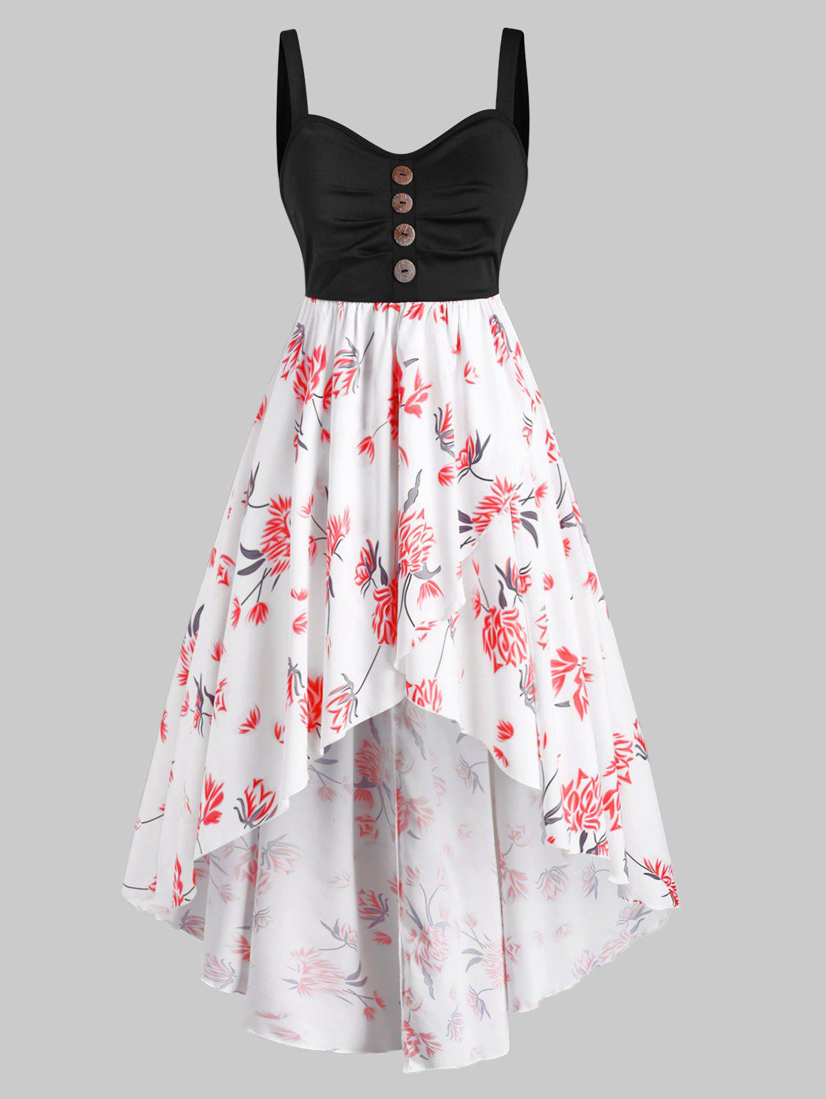 Best Mock Button Floral High Low Plus Size Dress