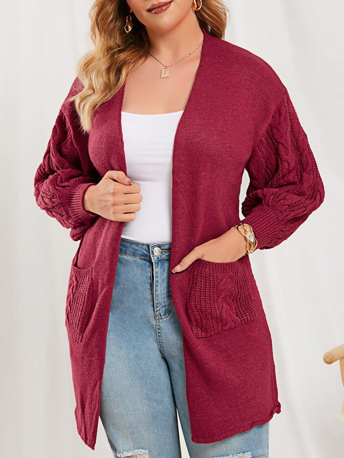 New Dual Pocket Lantern Sleeve Cable Knit Cardigan