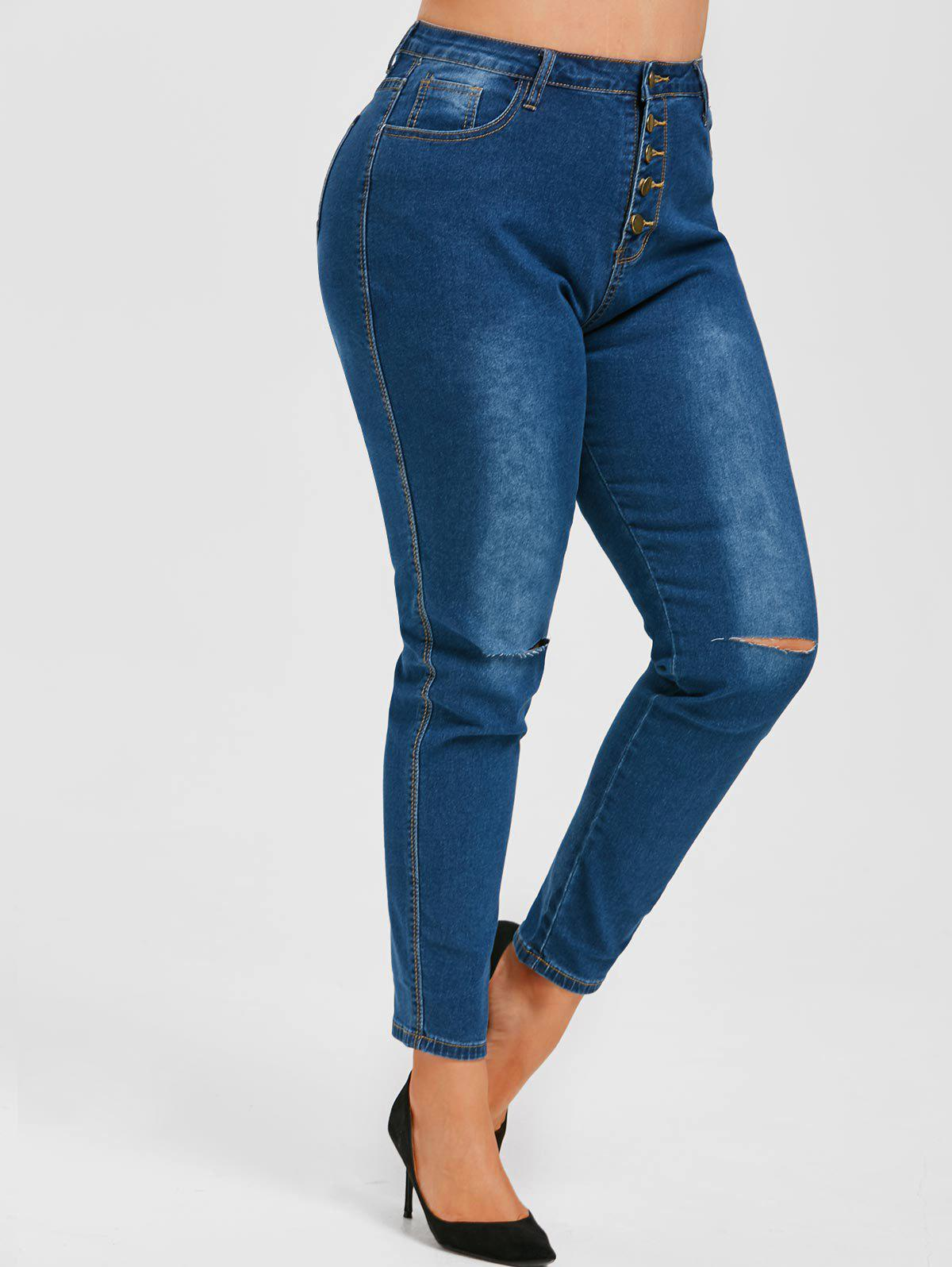 Hot Ripped Button Fly High Waisted Plus Size Skinny Jeans
