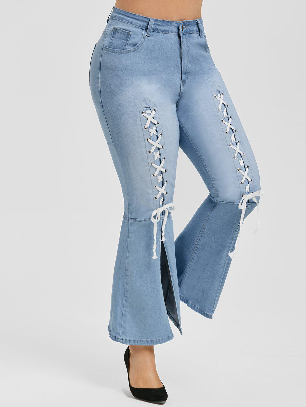 Sale Plus Size High Waisted Lace Up Bell Bottom Jeans