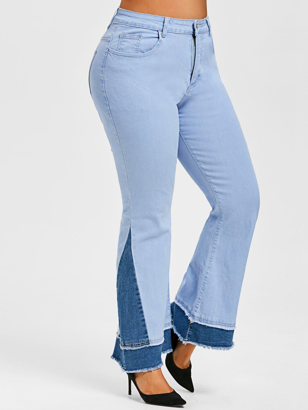Latest Plus Size Bicolor Frayed Layered Cuff Flared Jeans