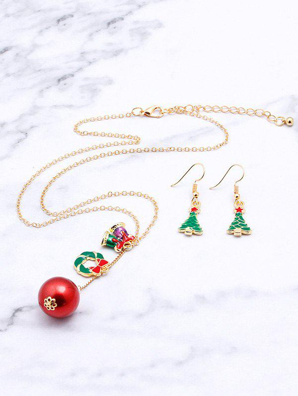 Unique Christmas Tree Bell Ball Pendant Necklace Earrings Set