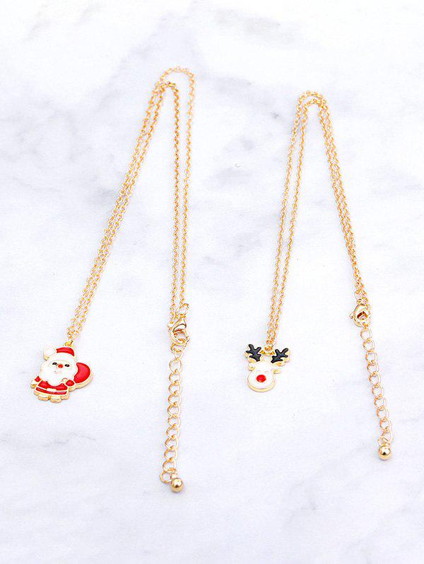 Fashion 2Pcs Christmas Santa Claus Elk Necklace Set