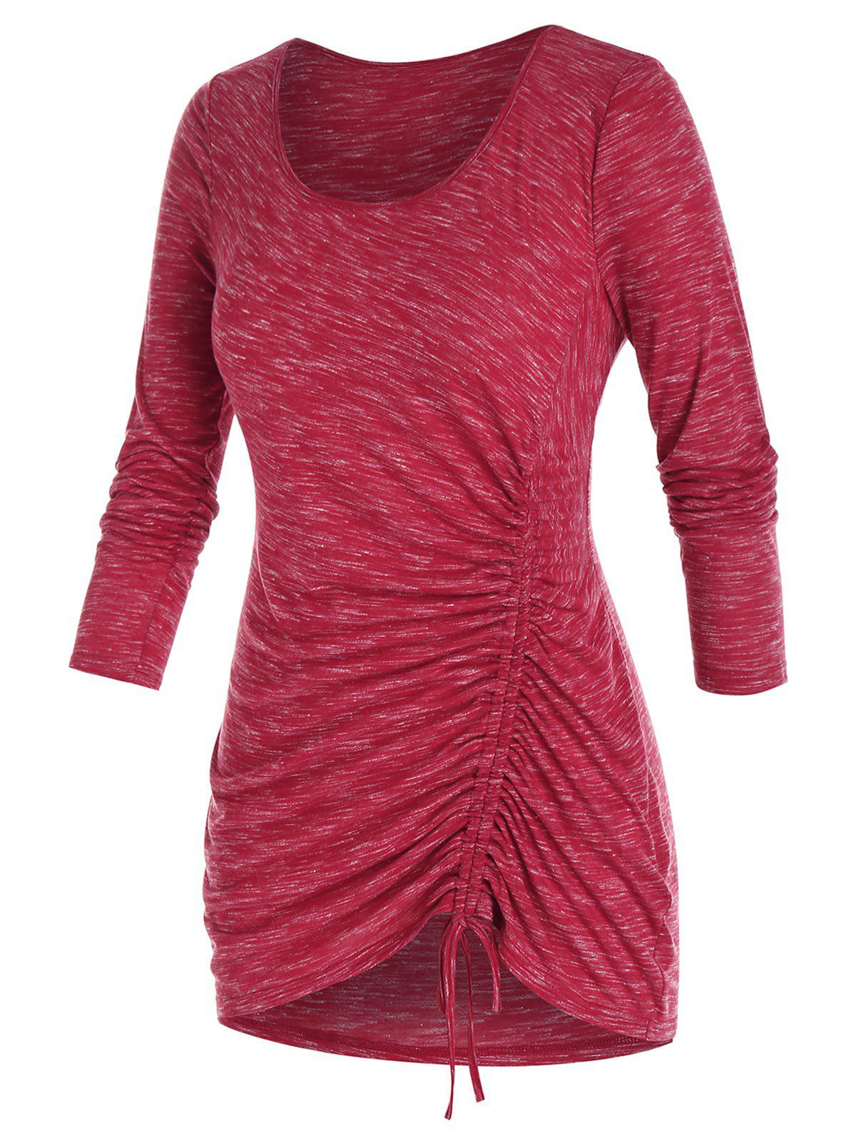 Affordable Plus Size Marled Cinched Asymmetric T Shirt