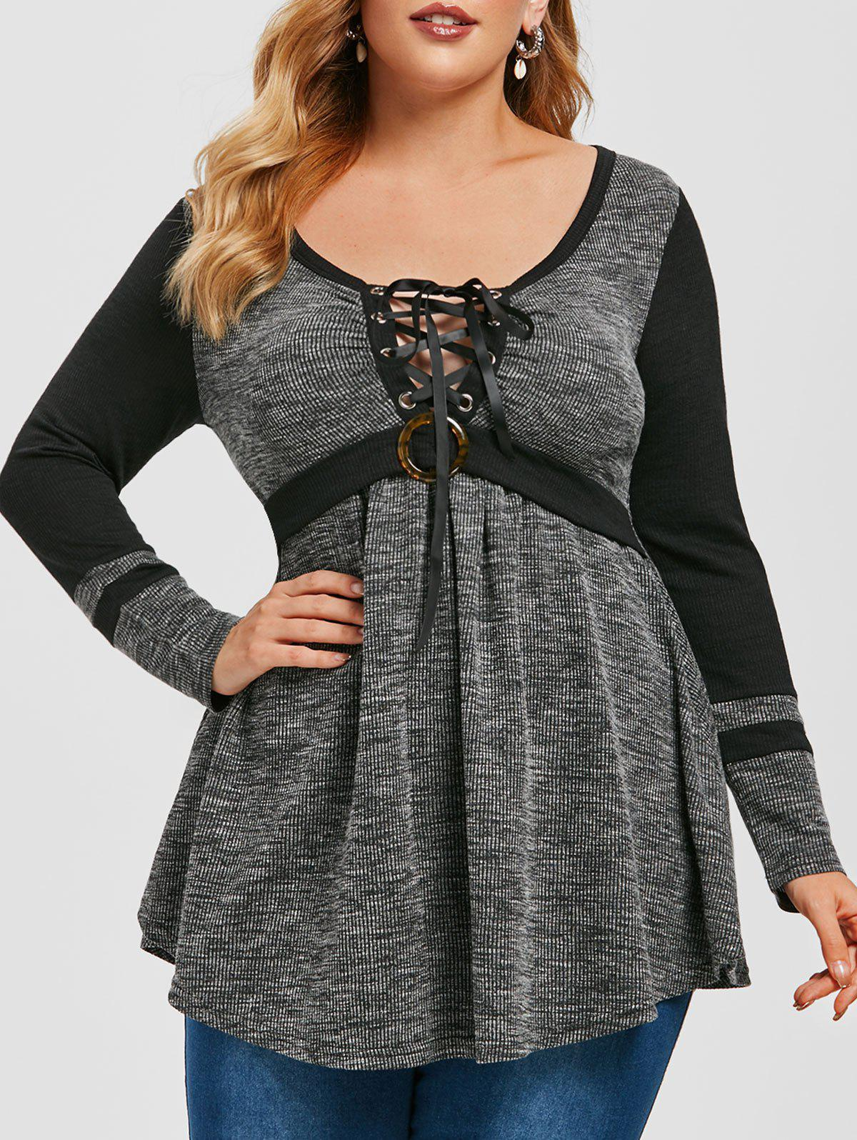 Store Plus Size Marled Ribbed Lace-up Tunic Sweater