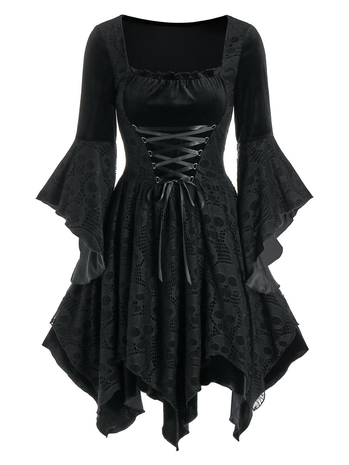 Hot Halloween Skull Lace Insert Lace-up Velvet Handkerchief Dress
