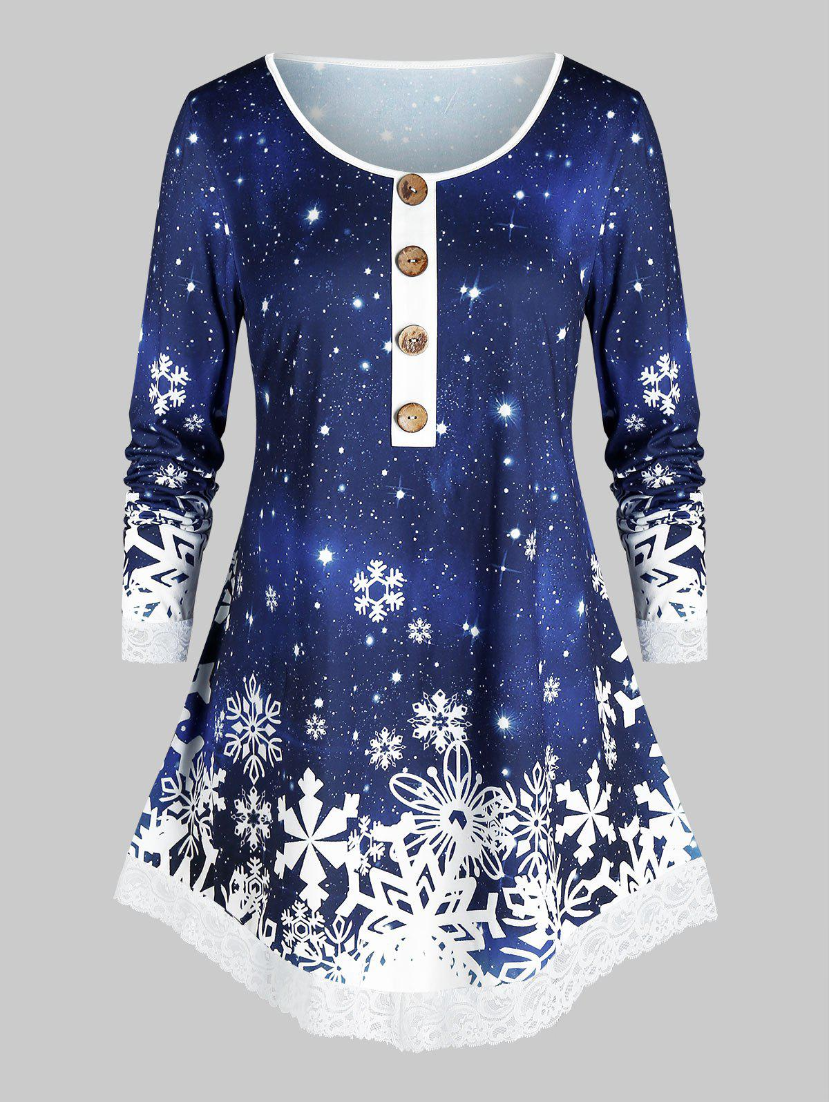 Discount Christmas Mock Button Snowflake Print T Shirt