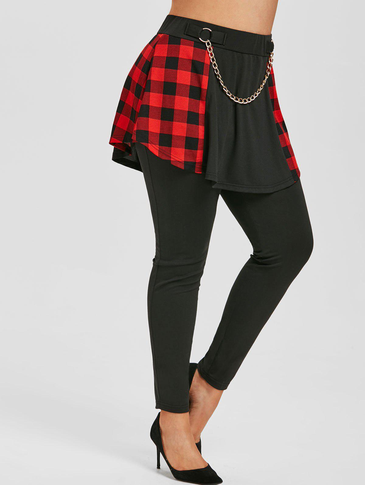 Buy Plus Size High Rise Chains Plaid Skirted Pants
