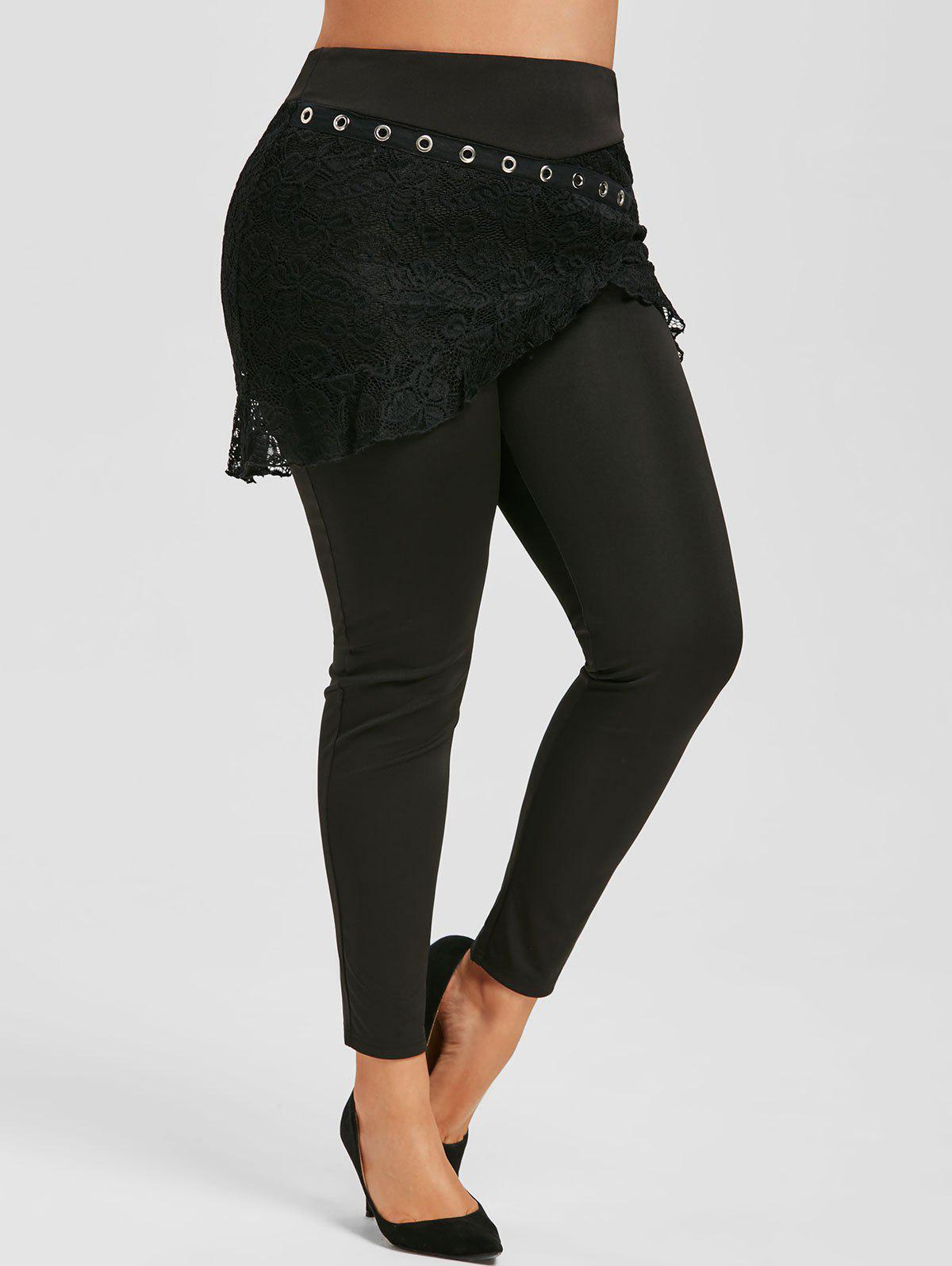 Sale Plus Size High Rise Lace Overlay Skirted Pants
