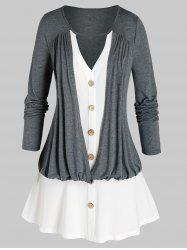 Plus Size Cutout 2 In 1 Ruched Blouson Tunic Tee -