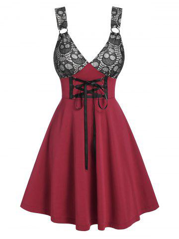 Skull Pattern Colorblock Lace-up A Line Dress - RED WINE - 2XL