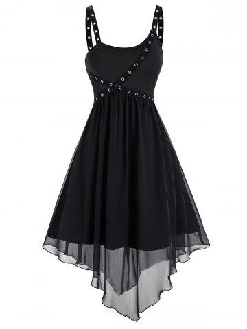 Punk Marled Asymmetric Layered A Line Dress