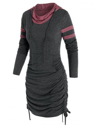 Front Pocket Cinched Mini Hoodie Dress
