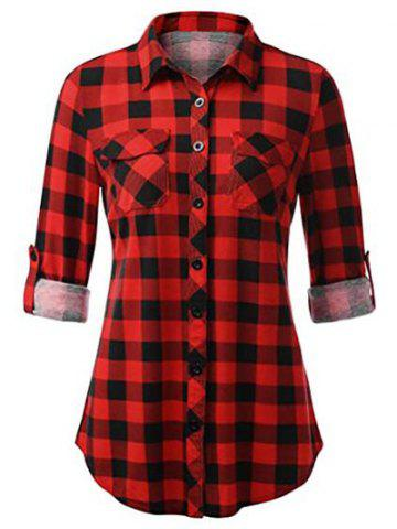 Plus Size Plaid Roll Up Sleeve Shirt - RED - 3XL
