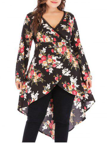 Plus Size High Low Floral Print Tops - BLACK - XL