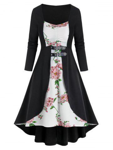 Flower Print 2 In 1 Back Lace Up Dress
