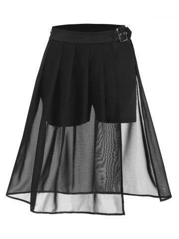 Pleated Buckle Sheer Slit Skirt - BLACK - 3XL