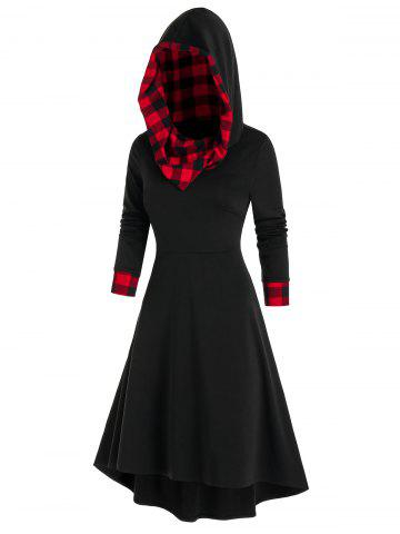 Plaid Print Hooded Lace-up High Low Dress