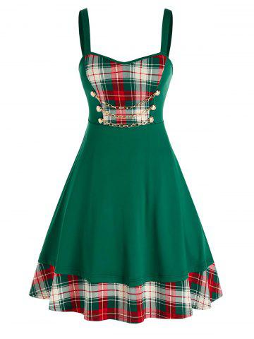 Plus Size Chain Checked Printed Dress - DEEP GREEN - 1X