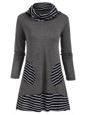 Cowl Neck Striped Patched Pocket Tee