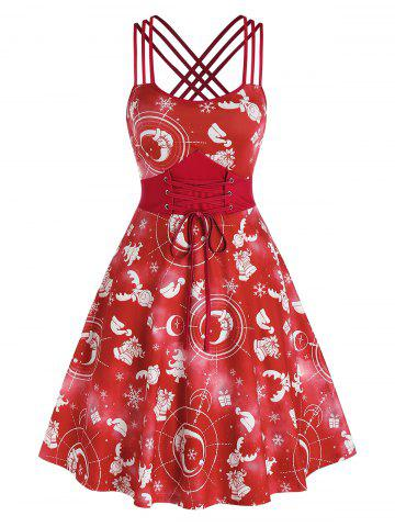 Lace Up Strappy Crisscross Christmas Printed Dress