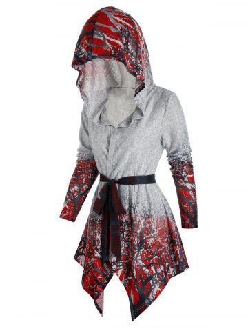 Hooded Tree Print Belted Cardigan - MULTI-A - 2XL
