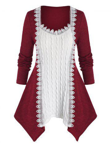 Plus Size Two Tone Hanky Hem Cable Knit Applique Trim Sweater - DEEP RED - 5X