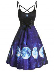 Lace Up Starry Moon Print Slip A Line Dress -