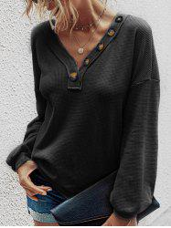 V Neck Textured Buttoned Knitwear -