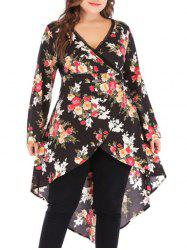 Plus Size High Low Floral Print Tops -
