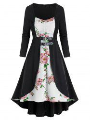 Flower Print 2 In 1 Back Lace Up Dress -