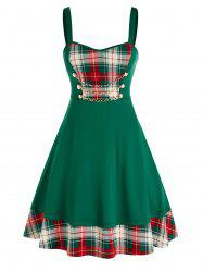 Plus Size Chain Checked Printed Dress -