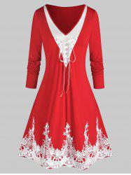 Plus Size Lace Up Embroidery Bicolor Dress -