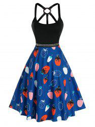 Studded Strawberry Print O Ring Dress -