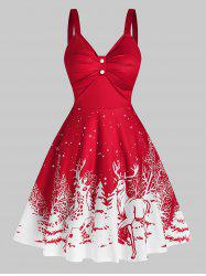 Elk Snowflake Print Christmas Dress -