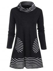 Cowl Neck Striped Patched Pocket Tee -