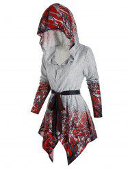 Hooded Tree Print Belted Cardigan -
