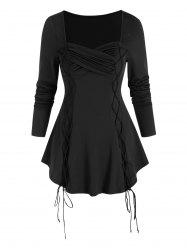 Ruched Criss Cross Lace Up Tunic T Shirt -