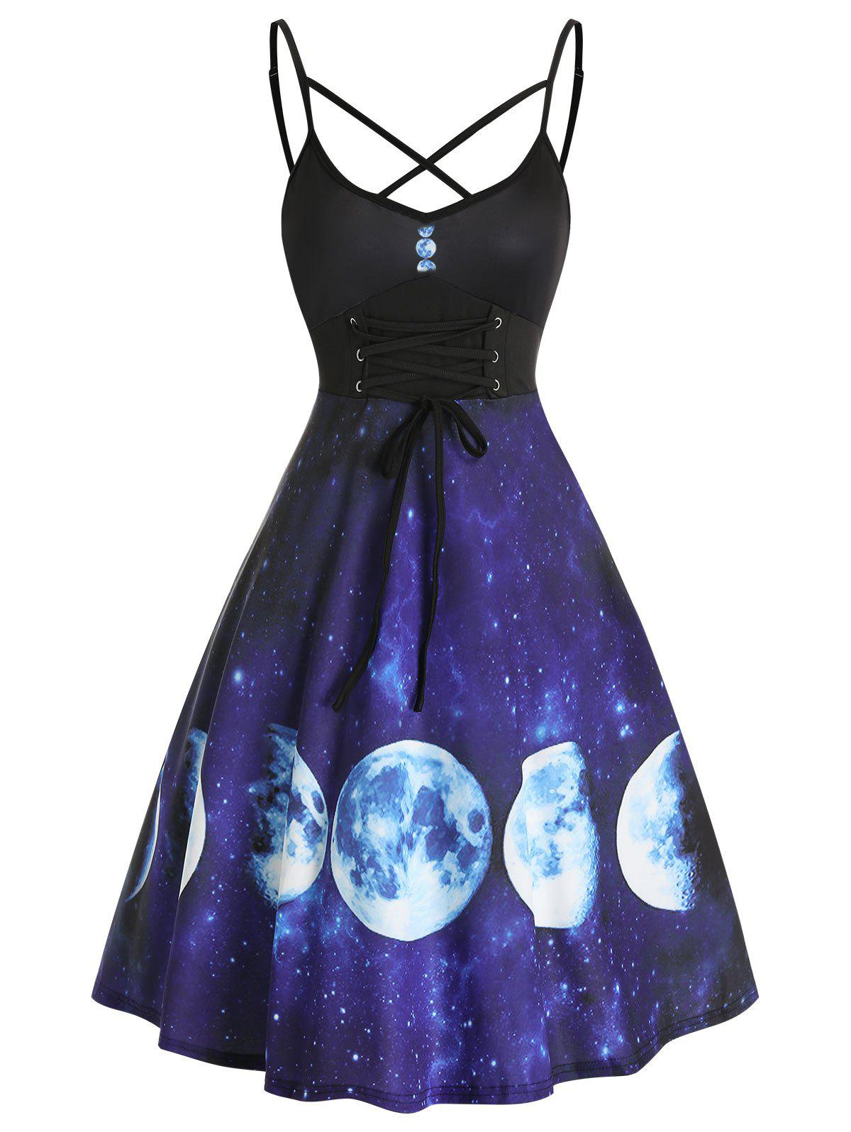 Outfit Lace Up Starry Moon Print Slip A Line Dress