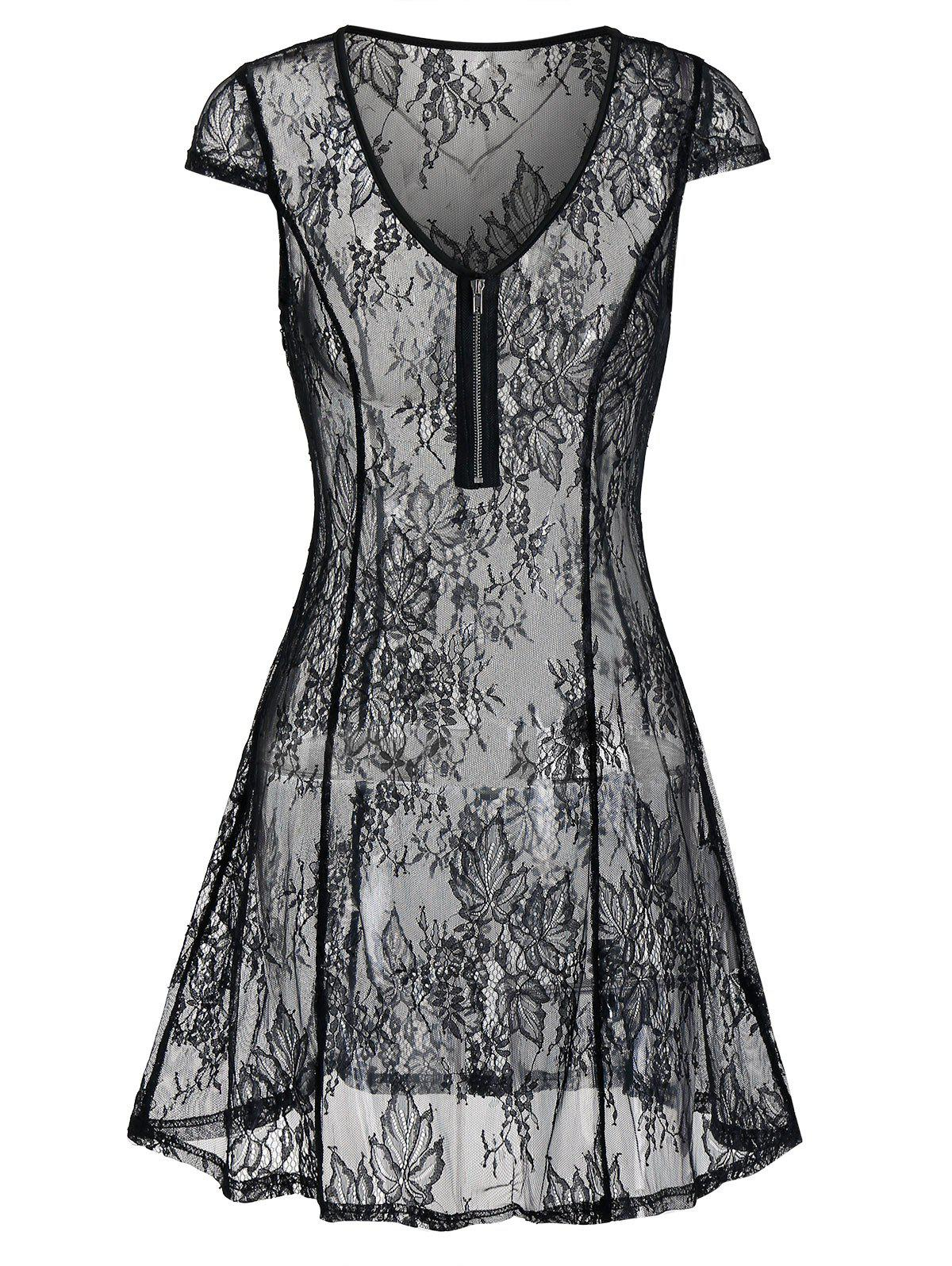 Trendy See Thru Lingerie Lace Dress
