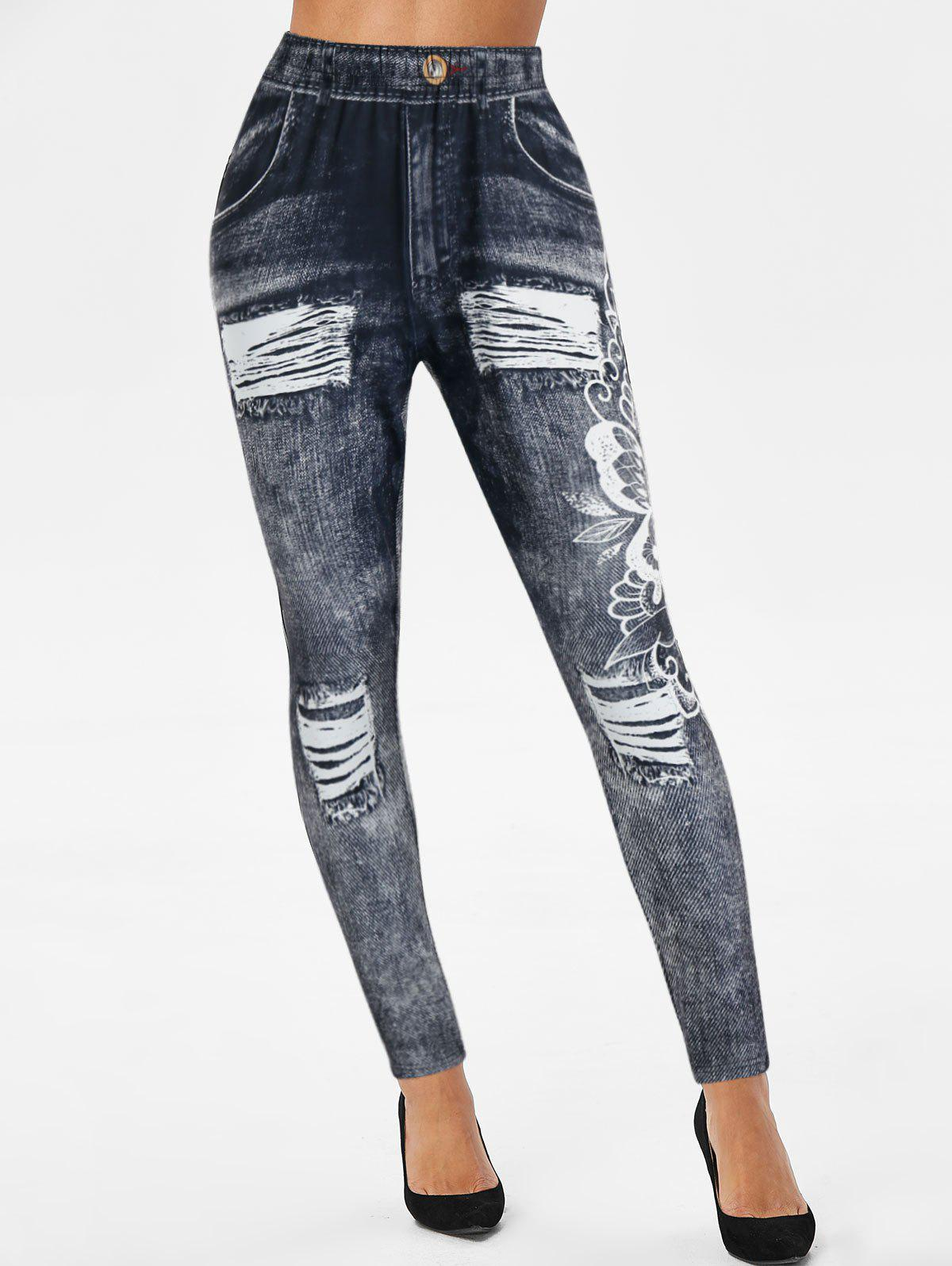 Latest 3D Ripped Jean Print Skinny Jeggings