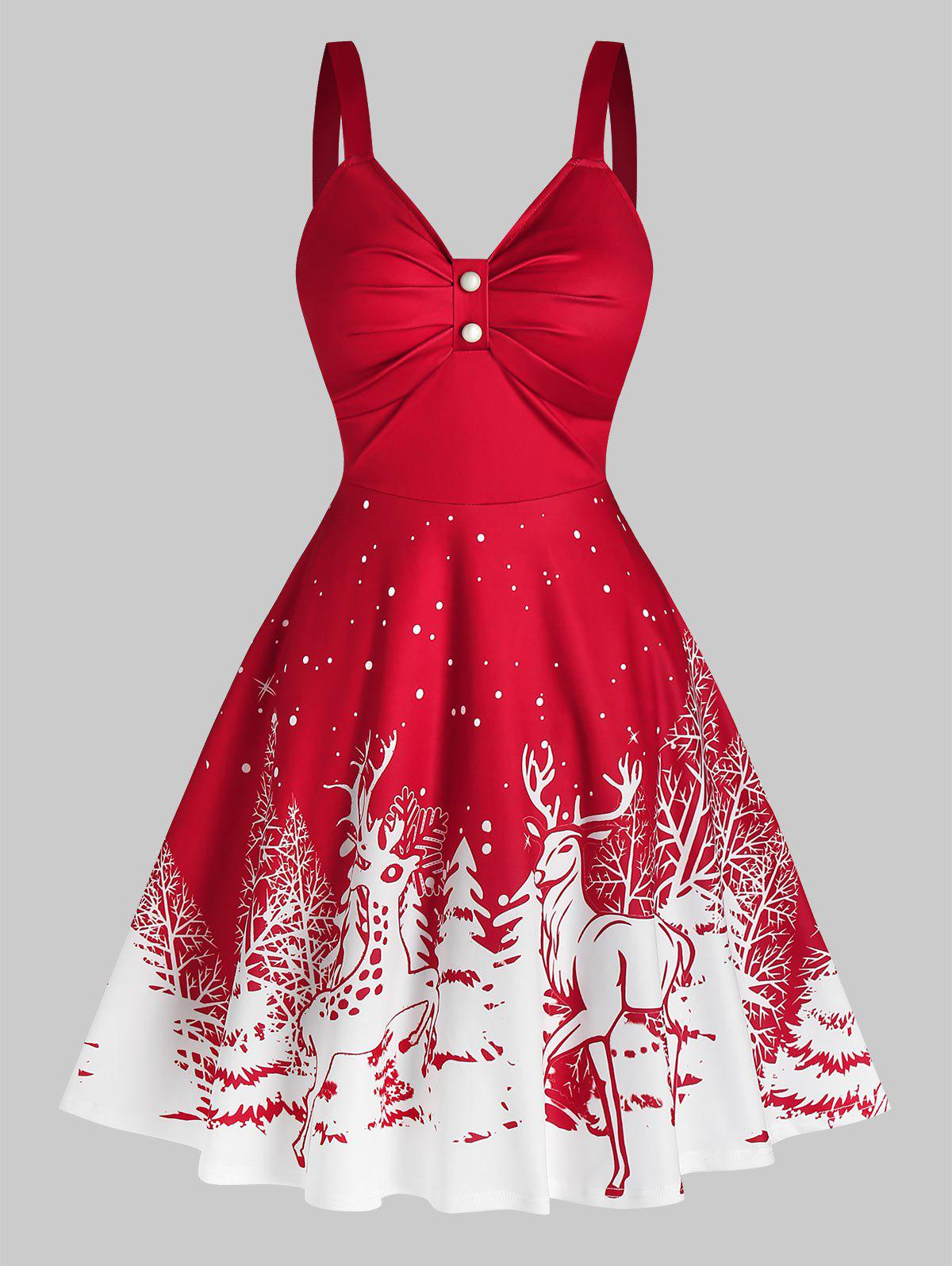 Store Elk Snowflake Print Christmas Dress