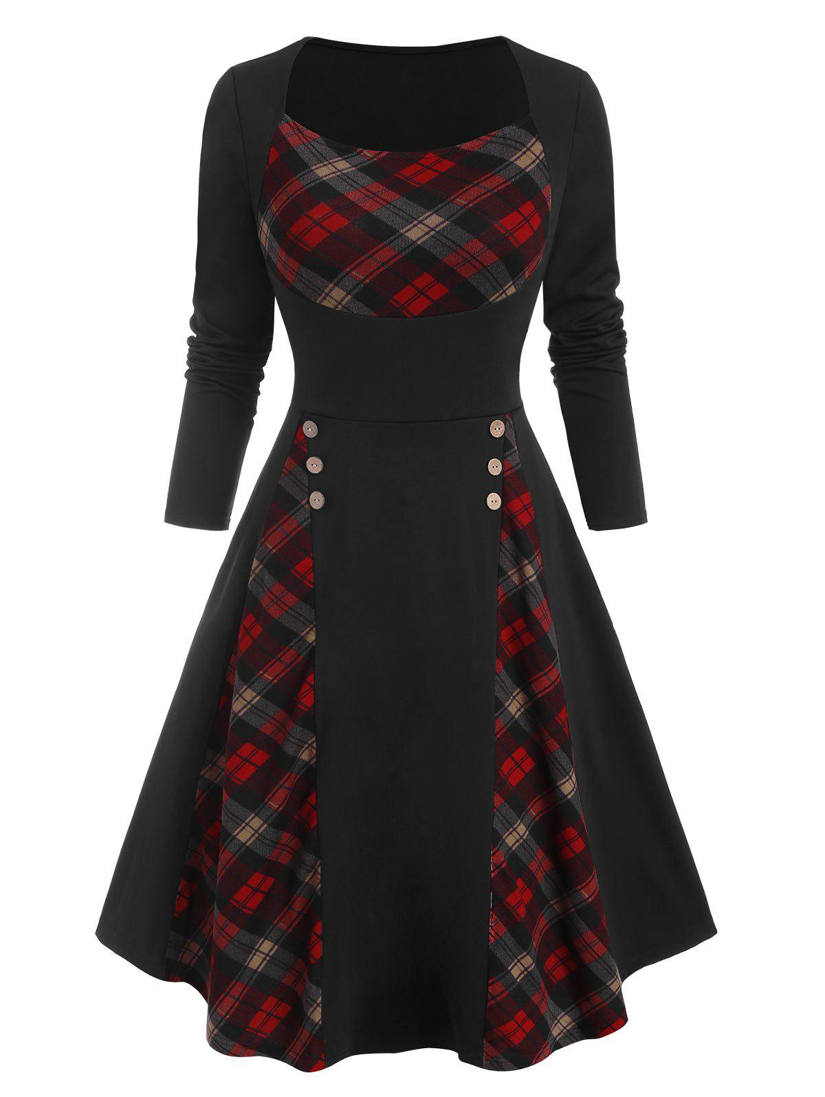 Outfits Plaid Panel Mock Button Long Sleeve Dress