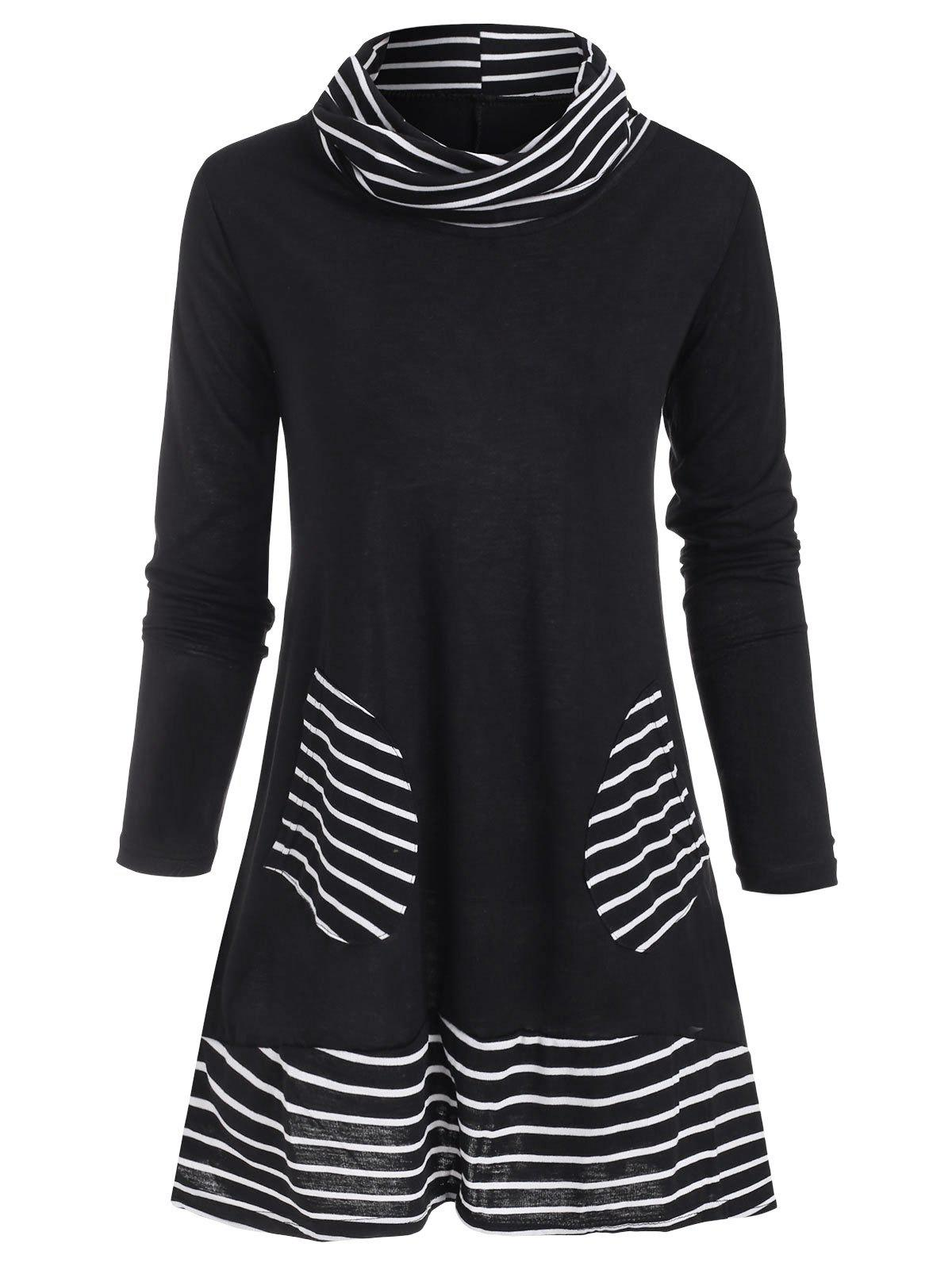 Trendy Cowl Neck Striped Patched Pocket Tee