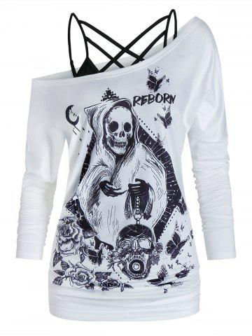 Floral Skull Print One Shoulder Two Piece T Shirt Set - WHITE - 3XL