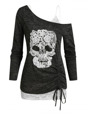 Skull Lace Pattern Cold Shoulder Two Piece T Shirt