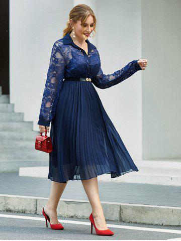 Plus Size Half Button Lace Insert Pleated Dress
