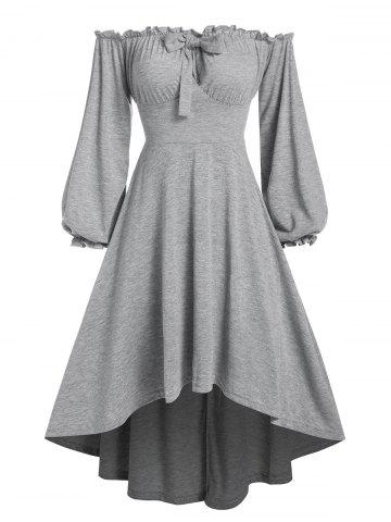 Off The Shoulder Bowknot Detail High Low Dress