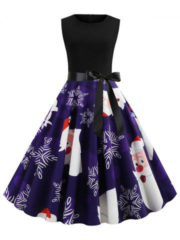 Plus Size Christmas Snowflake Santa Claus Print Dress - BLUE - 5X