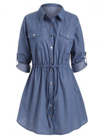 Plus Size Waist Drawstring Chambray Snap Button Shirt Dress - BLUE - 4X